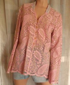 VINTAGE Christian Lacroix Pink Lace Tunic Blouse by BabylonSisters