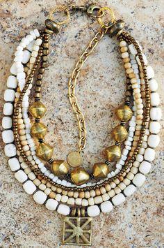 Multi-Strand White Bone, Bronze and Ashanti Brass Shield Necklace