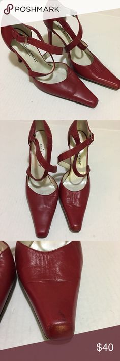 "Charles David Sexy Red Leather Heels size 7 1/2 Charles David Sexy Red Leather Heels size 7 1/2 in gently used condition. Criss cross strap. 4"" Heels. Mark on toe. Charles David Shoes Heels"