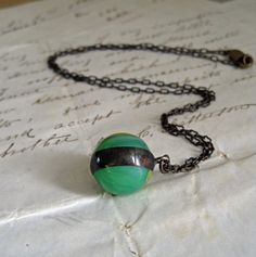 Vintage Marble Necklace Glass Jewelry Pendant by ThatOldBlueHouse2, $22.00