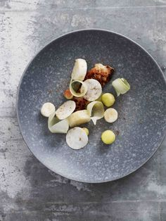 New Norm - fried lumpfish with apple and celeriac. only some photos in the food section have recipes but the plating is stunning