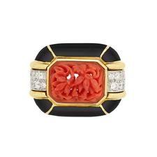 Gold, Platinum, Carved Coral, Black Enamel and Diamond Ring, David Webb Lot 399