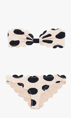 Flirty polka dots, basket-weave texture and a scalloped raw edge make this hand-cut beach staple stand out from the rest. If i could wear bikinis! Summer Of Love, Summer Time, Bikini Surf, Mode Style, Style Me, Lingerie, Polka Dot Bikini, Polka Dots, Scalloped Bikini