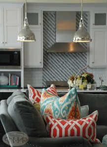 Check out these pendant lights for the kitchen #nellhills #centemporarylook #custompillows
