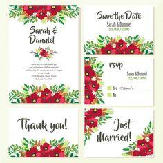 Diseño floral de invitaciones de boda Vector Gratis