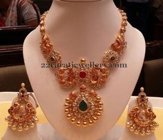 Michaela D.Rafael Peacock Temple Necklace by Mor Jewels Indian Jewellery Design, Indian Jewelry, Jewelry Design, Bridal Jewelry, Gold Jewelry, Diamond Jewellery, Gold Necklace, Simple Necklace, Simple Jewelry