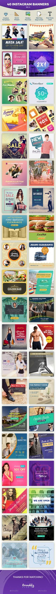 Instagram Banners  #PSD #ads #new arrival • Click here to download ! http://graphicriver.net/item/instagram-banners/15890945?ref=pxcr