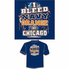 Chicago Football I Bleed Navy and Orange, Go Chicago T-Shirt, Blue, Size: Medium