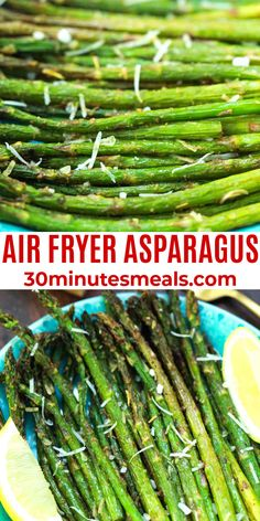 Air Fryer Asparagus is tossed in olive oil, pepper, and herbs before getting roasted until it's tender and caramelized lightly. #asparagus #sidedish #airfryer #30minutesmeals Easy Vegetable Recipes, Vegetable Side Dishes, Side Dish Recipes, Best Dinner Recipes, Delicious Dinner Recipes, Lunch Recipes, Bacon Recipes, Air Fryer Recipes, Quick Easy Meals
