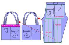 Jeans Bag   Flickr – Condivisione di foto! How to cut Jeans for a Bag or Purse. Recycle Jeans, Cut Denim.