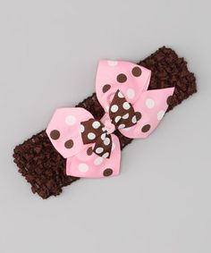 This Brown & Pink Polka Dot Headband by Petunia Petals is perfect! #zulilyfinds