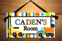 Bright Construction Truck Boys Bedroom Baby Nursery DOOR SIGN Wall Art. $14.00, via Etsy.