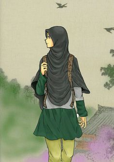 Sara always wanted to be a journalist but no one ever excepted her because she is a muslim and wears a head scarf. Beautiful Muslim Women, Beautiful Hijab, Hijabi Girl, Girl Hijab, People Illustration, Illustration Girl, Illustrations, Girls Dp, Girls Wear