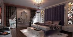 Stunning-Bedroom-Decorations-with-Vintage-Mirror-Purple-Headboard-decorating-girls-rooms-ideas-home-interior-room-decoration-small-design-concepts-nursery-designs-White-Fur-Rug.jpg (600×306)
