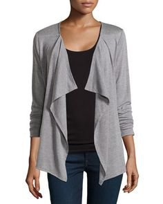T9WCN Neiman Marcus Gathered-Back Draped Cardigan, Heather Gray