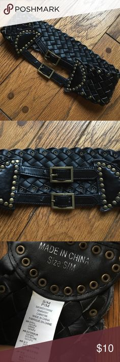 Double Strap Latch Braided Belt Black braided design, with Brass/antique gold colored detail studs and buckles. It is 32 inches from complete end to end, and 29 inches from outermost hole to the innermost point of the latch. Love it but too small for me, great condition 💕😊   *Not all items are from smoke/pet free homes* Accessories Belts