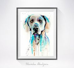 Weimaraner watercolor painting print Weimaraner art by SlaviART