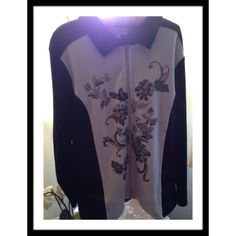 """BLACK & WHITE LIGHTS Breckinridge active wear jacket with front inset panels of floral decorations with some beading. Armpit to armpit 26"""" laying flat & length 28"""" Jackets & Coats"""