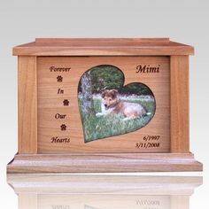 The Hearts Forever Picture Cremation Urn is made from finest cherry wood. The urn will create a memorial for your loved pet and give peace for eternity. The ashes are placed in the urn through an access behind the picture. Pet Cremation Urns, Keepsake Urns, Pet Urns, Sympathy Cards, Wood Boxes, Your Pet, First Love, Cherry, Hearts