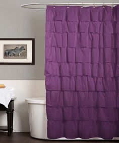 Purple Ruffle Shower Curtain