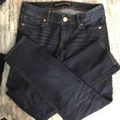 Express Jeans Dark blue straight leg, low rise denim. Stretchy material.  In great shape. Express Jeans Straight Leg