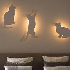 Árnyék macska lámpa
