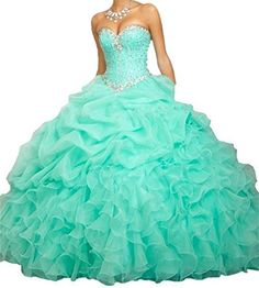 BanZhang Women's Cheap Crystals Organza Ball Gown Long Quinceanera Prom Dress BZ314 Aqua 10