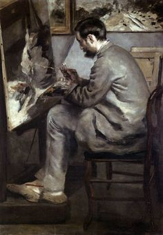Frédéric Bazille at His Easel. 1867. Oil on canvas, 105 x 76 cm (Renoir). Musée d'Orsay, Paris. Renoir and Bazille met in November 1862 in the studio of Charles Gleyre, where they attended drawing classes along with Monet and Sisley. ,,, Bazille moved into a studio in Paris and shared it with Renoir. Toward the end of 1867, Bazille painted his friend in a nonchalant attitude with his feet up on the seat of his chair. Renoir reciprocated by painting a picture of his friend in their studio…