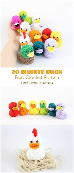 20 Minutes Duck Free Crochet Pattern The post Easter Bird Free Crochet Pattern . 20 Minutes Duck Free Crochet Pattern The post Easter Bird free crochet patterns appeared first on PINK DiY. Crochet Simple, Cute Crochet, Crochet Crafts, Knit Crochet, Crotchet, Crochet Birds, Crochet Toys, Diy Crochet Animals, Crocheted Flowers