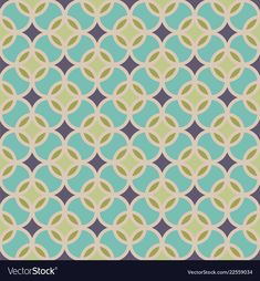 Seamless geometric pattern vector image on VectorStock Green And Purple, Tangled, Adobe Illustrator, Circles, Vector Free, Pdf, Shades, Turquoise, Illustration