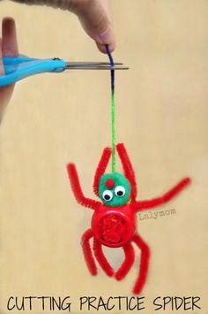 Scissor Practice Activity for Preschoolers- Cutting Practice Spider