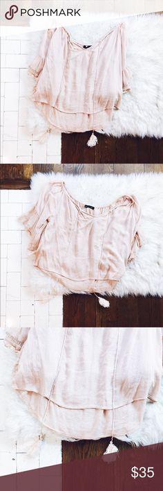 Zara Off Shoulder Tassel Bohemian Top Elastic neckline  Fits best off both shoulders Tassel Drawstring detail Peachy pink Zara Tops Blouses