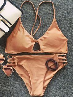 SHARE & Get it FREE   Solid Color Elastic Cami Bikini SetFor Fashion Lovers…