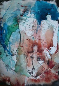 de menselijke maat van Marjan Nagtegaal | Een schilderij over verbinding en jezelf zijn in een groep mensen.Naast aquarelverf is er ook inkt en vetkrijt gebruikt.De aquarel wordt verzonden in zuurvrij passe-partout. ik kan de aquarel tegen kleine meerprijs voor u inlijsten en thuisbrengen (pakketbezorging geeft kans op glasschade). zie informatiepagina inlijsten.De lijstmaat is 60-80 Life Drawing, Figure Painting, My Works, Abstract Art, Watercolor, Drawings, Artwork, Pintura, Galleries