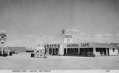 Kachina Cafe, Gallup, New Mexico - 1949-1955    This restaurant was in front of Clark's Dairy on U.S. 66, west of Gallup, New Mexico. As you look back toward the open area a coal mine was still being operated and some Navajos lived in the area. Further down was the the Sunset Motel, the airport and then the outskirts of Gallup. Today this is in the city limits of Gallup. Only a shell exists and to the right side of the picture is now a Holiday Inn and farther to the right is the new Gallup…