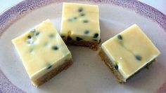 Kaz's Passionfruit slice (Thermomix Method Included) « Mother Hubbard's Cupboard No Bake Treats, Yummy Treats, Sweet Treats, Passionfruit Slice, Bellini Recipe, Cocktail Desserts, Cocktails, Sweet Pie, Biscuit Recipe