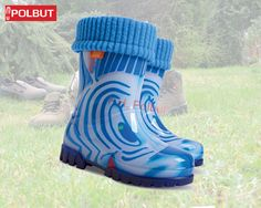 Blue for kids, great pattern with warm cotton inside. Wellington Boot, Rubber Rain Boots, Cold, Warm, Winter, Pattern, Cotton, Kids, Blue