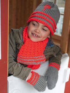 Hat, Mittens and Scarf, S8902 - Free Pattern: Winter is coming and everyone will need a new hat, scarf and mittens. Why not make them in the easy care, machine washable, light-reflective  Lumio Fine  yarn from Schachenmayr yarns?  This pattern for all three accessories is sized for toddler, child and adult, and comes with an optional question mark motif that can be duplicate-stitched at the end - or add your own design to personalize the set.