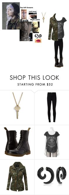 """Elise Sonar"" by hellokitty-780 on Polyvore featuring The Giving Keys, Frame Denim, Dr. Martens, Rock & Republic, LE3NO and Bling Jewelry"
