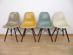 Eames Chairs Vitra | taupe yellow blue cream. Love the color combination #EamesChair