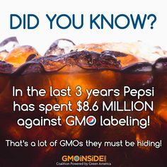 It's true Pepsi spent MILLIONS to keep GMOs hidden so you wouldn't suspect GMO in their products! Share this post far and wide! See the totals spent this year alone here: http://bit.ly/1CIQDXO and check out ALL the Pepsi products here: http://www.pepsico.com/Brands #GMOs #food #righttoknow #LabelGMOs