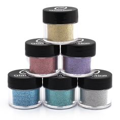 Holographic .008 Fine Glitter - 6 PK Loose Glitter Kit - Solvent Resistant and Great for Nail Art Polish, Gels,