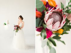 Featured on Green Wedding Shoes  photographer: Rustic White Photography // planning + design + florals: Amberly of Wrennwood Design   bright table scape with protea, bells of ireland, tulips bold colorful wedding