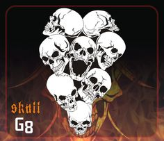 CAS Professional Airbrush Stencil - Skull Group 8 - 'Extreme-Angle Skulls'