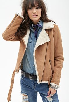 Faux Shearling & Faux Suede Aviator Jacket   FOREVER21 - 2000099694