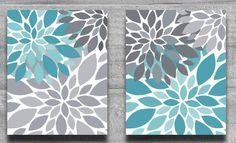 CANVAS ART, Turquoise & Gray Flower Burst Wall Art Abstract Botanical Print Set Home Decor Nursery Art, Bathroom Art Aqua Teal