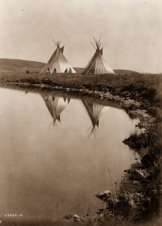 This picture ( by Edward Curtis) was taken in and shows Native American Tipis of the Piegan tribe by the water's edge. A small group can be seen sitting in front of the dwellings. Native American Beauty, Native American Photos, Native American Tribes, Native American History, American Indians, Native Americans, American Life, Native American Teepee, American Quotes