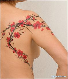 What does cherry blossom tattoo mean? We have cherry blossom tattoo ideas, designs, symbolism and we explain the meaning behind the tattoo. Cherry Blossom Tattoo Meaning, Blossom Tree Tattoo, Cherry Blossom Tattoo Shoulder, Neue Tattoos, Bild Tattoos, 1 Tattoo, Back Tattoo, Tattoo Skin, Great Tattoos