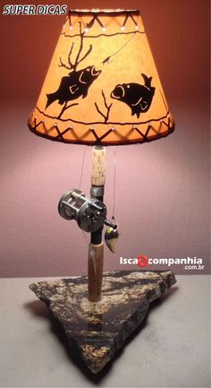 Locating the best lamp for your home can be difficult because there is such a wide variety of lamps to choose from. Discover the perfect living room lamp, bedroom lamp, table lamp or any other style for your selected space. Wood Projects, Projects To Try, Woodworking Projects, Fish Lamp, Vintage Fishing, Unique Lamps, Bedroom Lamps, Rustic Decor, Rustic Lamps