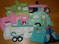 Adorable handmade camping potholders. tents and vintage camper trailers.